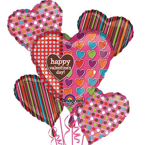 Happy Valentine's Day Polka Dots, Hearts and Stripes 32in Balloon Bouquet 5ct