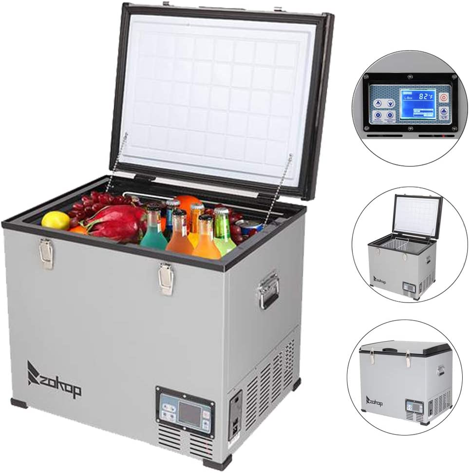 ZOKOP Compact Refrigerators Car 60L / 64Quart / 2.1CU.FT Portable Mini Fridge DC12V / 24V AC100-120V Stainless Steel Compressor Freezer with LCD Touch Screen for Home, Camping, Bar,-4℉ 〜50℉