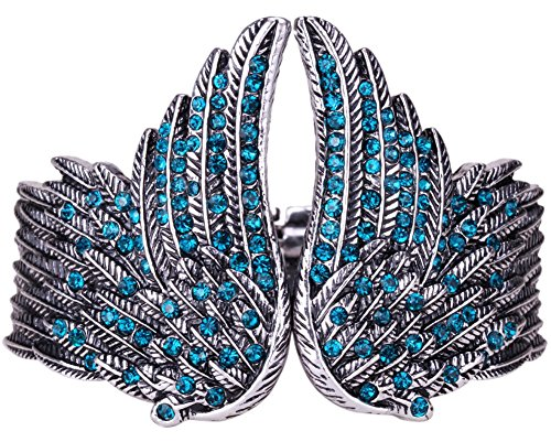 Stone Angel Costume (YACQ Women's Guardian Angel Wings Hinged Bangle Bracelets Crystal Costume Jewelry)