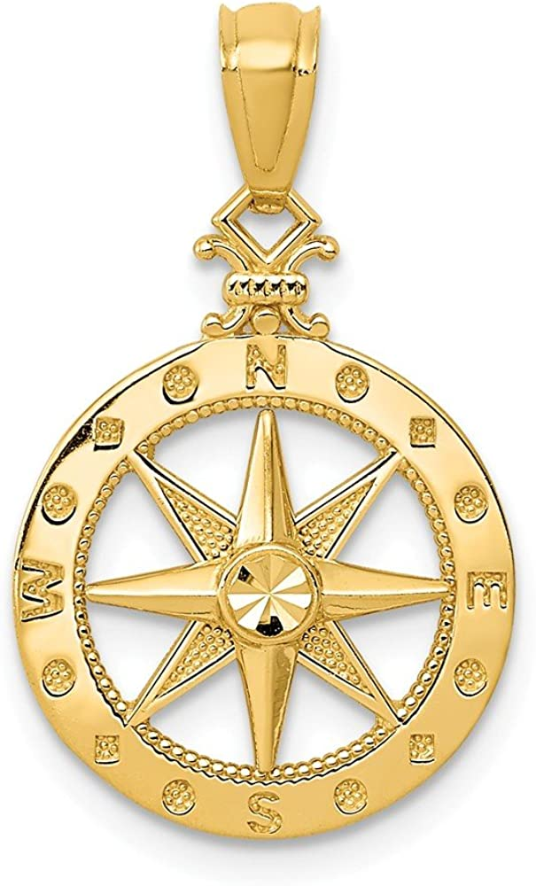 14k Yellow Gold Compass Pendant Charm Necklace Sea Shore Boating Man Fine Jewelry For Dad Mens Gifts For Him