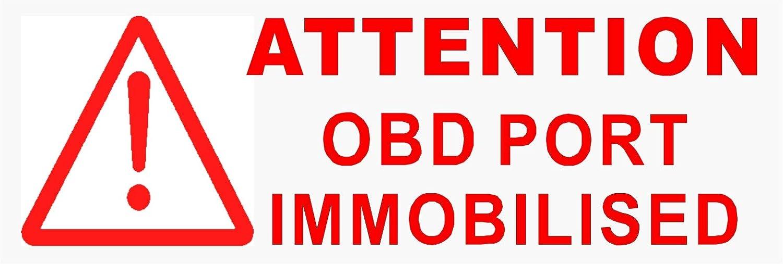 Platinum Place Warn Aufkleber Für Autofenster Mit Englischer Aufschrift Obd Port Immobilised Rot Transparent 87 X 30 Mm Für Lkw Taxi Bus Anleitung In Englischer Sprache 5 Stück Auto