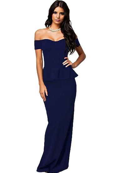 Figurbetontes Kleid, Navy blau, schulterfrei, Maxi-Kleid ...
