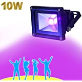 YQL Outdoor UV Black Light,10W Ultra Violet LED Flood Light,Blacklights for DJ Disco Night Clubs,UV Light Glow Bar,Blacklight Dance Party,Stage Lighting,Make Fluorescent Effect in the Dark