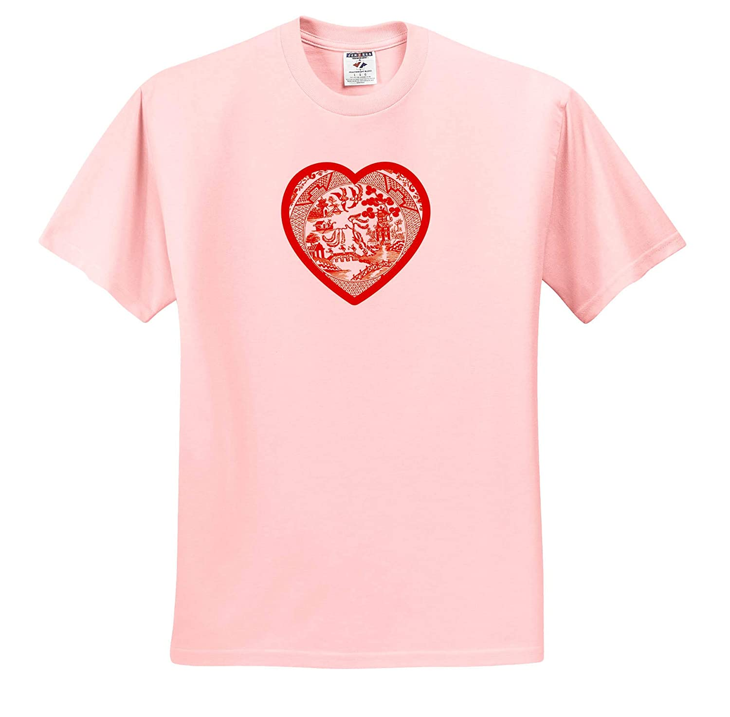 Red Willow Pattern Heart on White Background T-Shirts 3dRose Russ Billington Designs