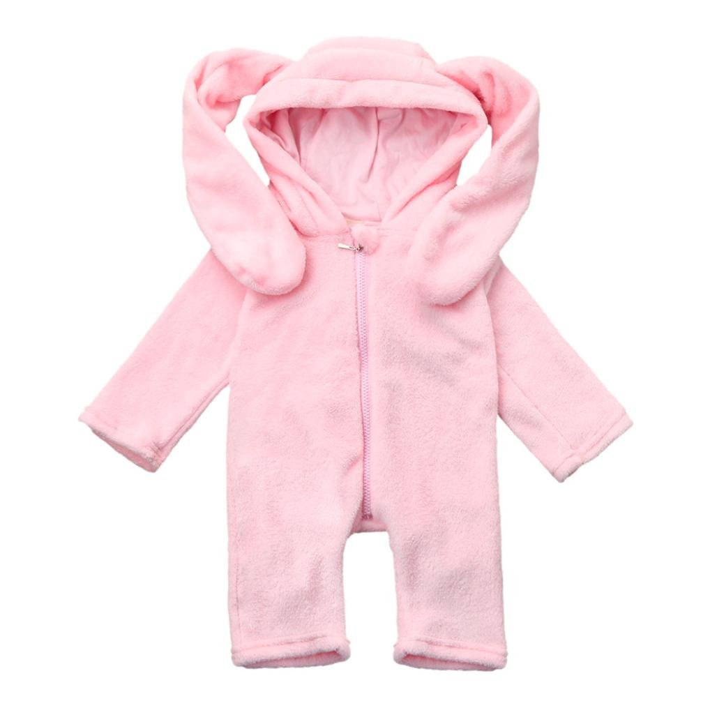 Newborn Infant Clothes Outfits Pajamas Baby Boy Girl Long Ears Rabbit Hooded Romper
