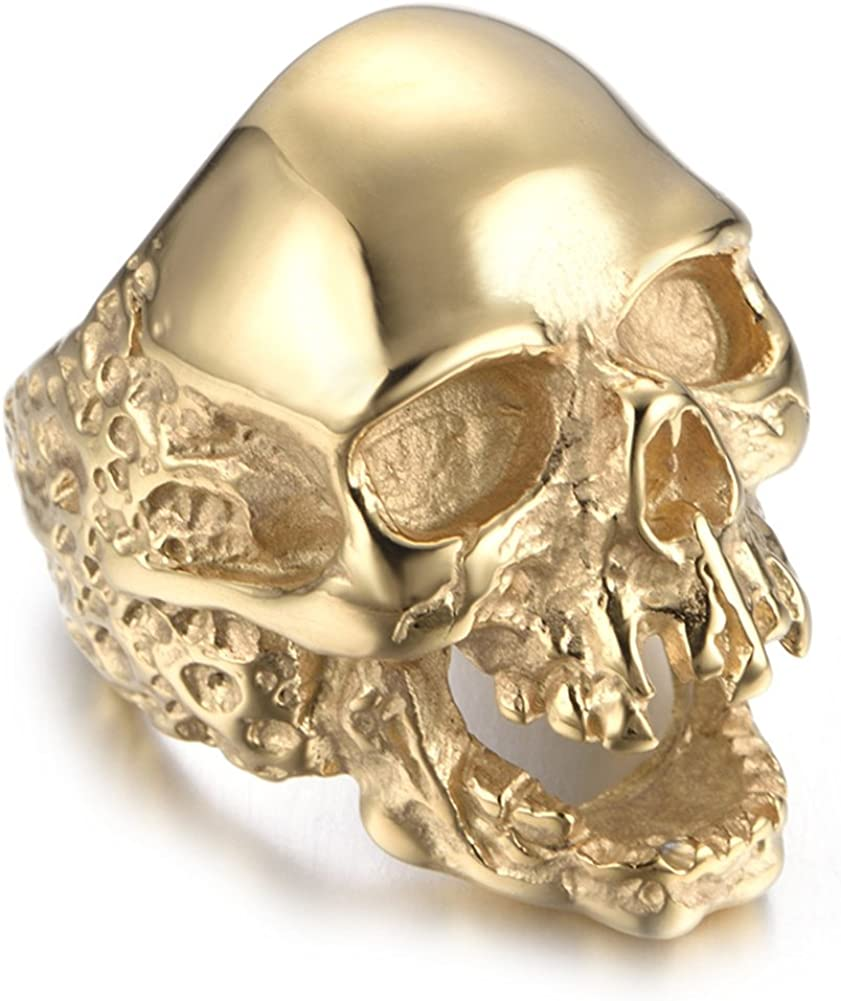 JAJAFOOK Jewelry Men's Stainless Steel Gold Tone Gothic Skull Rings, Domineering, Biker, High Polished