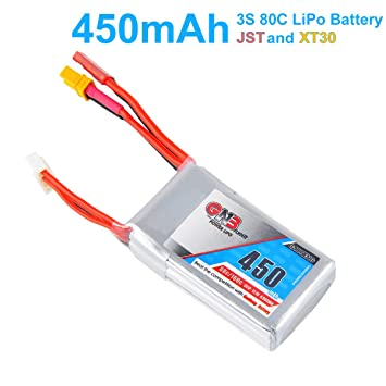 GNB 450mAh LiPo Battery 3S 80C 111V XT30 And JST Connector For FPV Racing Drone