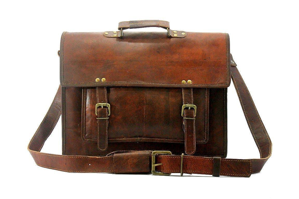 BROCODE 16 Inch Leather Messenger Genuine Mens Auth Real Leather Messenger Laptop Briefcase Satchel Mens Bag