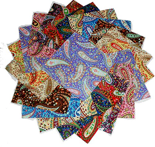 60 5'' Beautiful Perfect Paisley Charm Pack by Galaxy Fabric