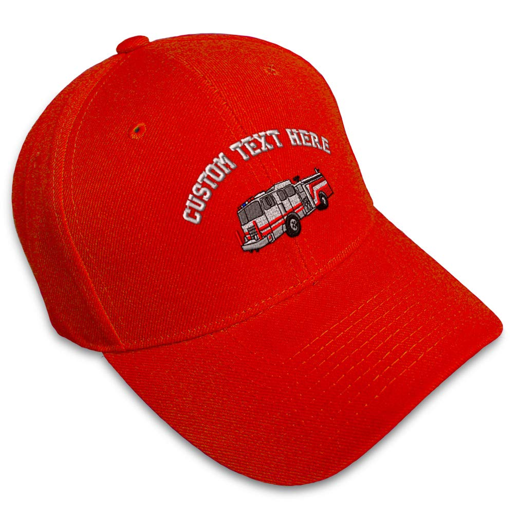 Custom Baseball Cap Squad Fire Truck Embroidery Acrylic Dad Hats for Men /& Women