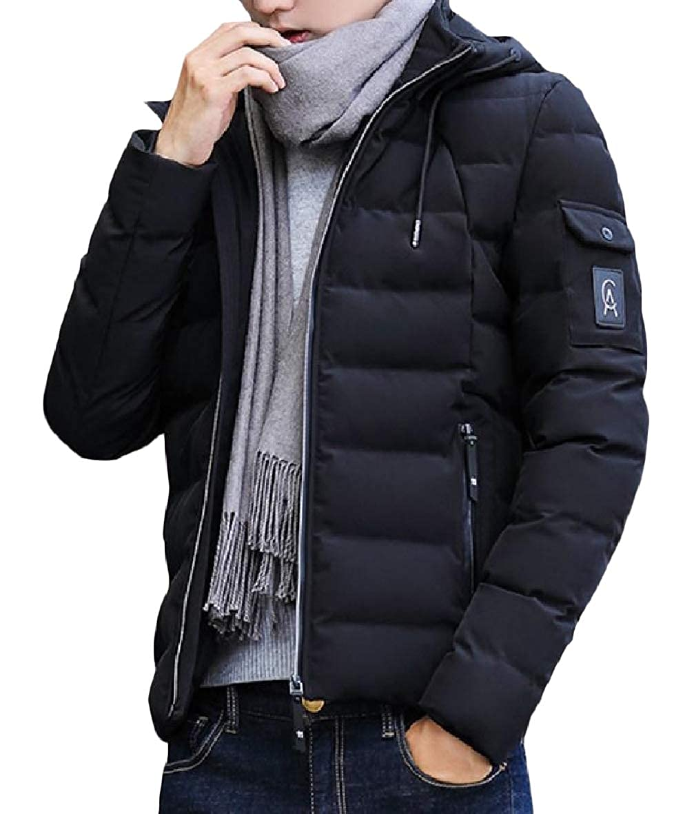 Tootless-Men Hooded Thickened Zip Pocket Solid Warm Oversized Down Outwear