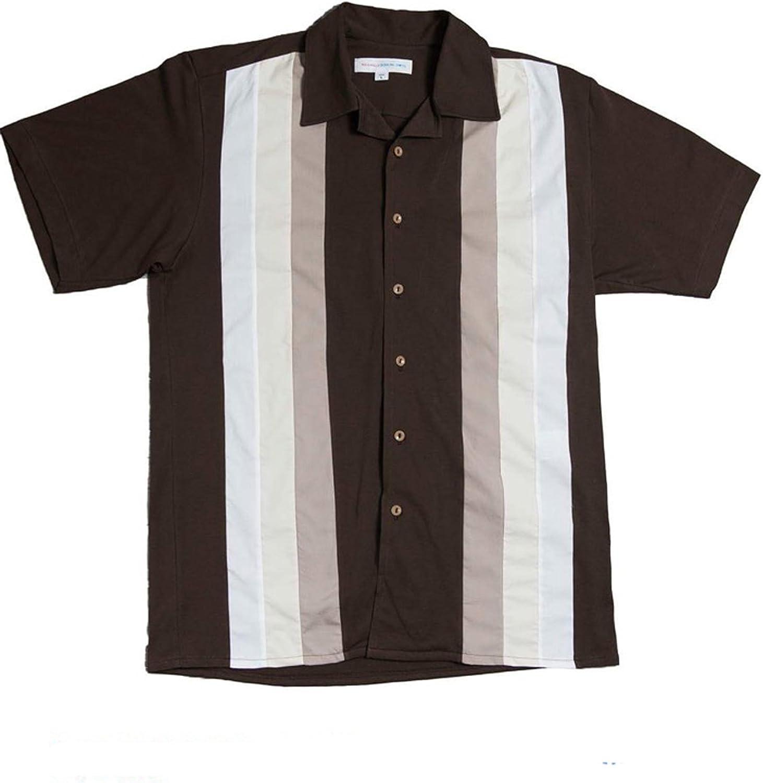 Rockabilly Bowling Shirts - Camisa casual - Manga corta - para hombre marrón Medium: Amazon.es: Ropa y accesorios