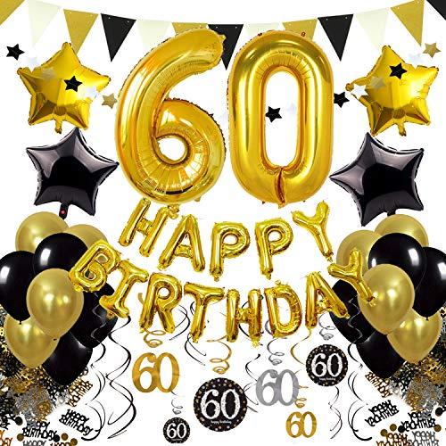 Black Hills Gold Star - Cocodeko 60th Birthday Decorations, Black Gold Happy Birthday Balloons Number 60 Star Foil Balloons Birthday Confetti Triangular Garland Star-shaped Banner Hanging Swirls for Birthday Party Supplies