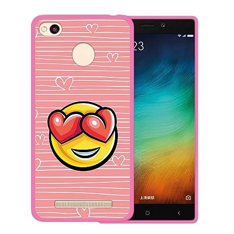 WoowCase Funda Xiaomi Redmi 3s, [Xiaomi Redmi 3s ] Funda Silicona Gel Flexible Emoticono Emoji Corazónes Amor, Carcasa Case TPU Silicona - Rosa