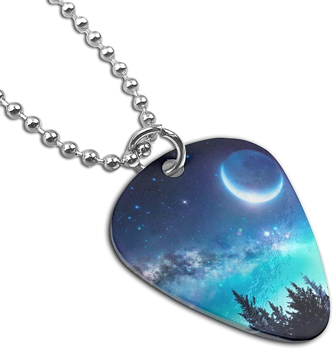 Milky Way Moon In Night Forest Custom Guitar Pick Pendant Necklace Keychain