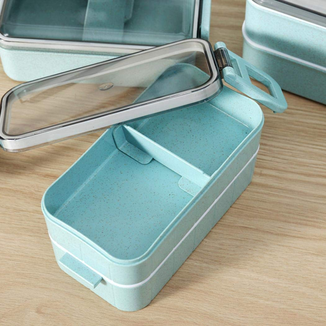 Milene88 Portable Divided Lunch Box Food Storage Container Kids Adults Bento Box Lunch Boxes