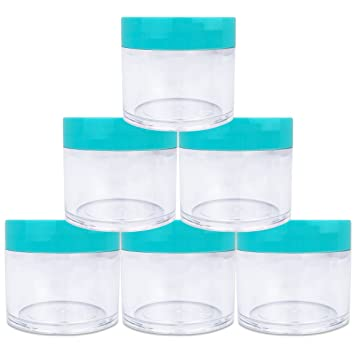 a6a95c309dc3 Beauticom 6 Pieces 1 oz. USA Acrylic Round Clear Jars with Flat Top Lids  for Creams, Lotions, Make Up,...
