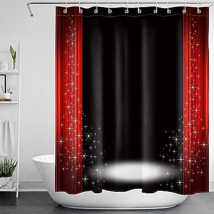 kreativ zhanghui2018 Duschvorhang mit roten Mohnblumen und schwarzem Hintergrund schimmelresistent 180 x 180 cm strapazierf/ähiger Stoff mit 12 Haken Badezimmer-Zubeh/ör