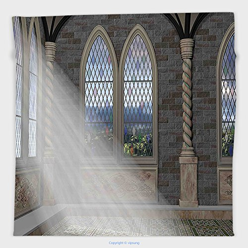 Vipsung Microfiber Ultra Soft Hand Towel-Fantasy Crepuscular Rays Streaming Through Stained Glass Window Ancient Palace Castle Grey Cream White For Hotel Spa Beach Pool Bath