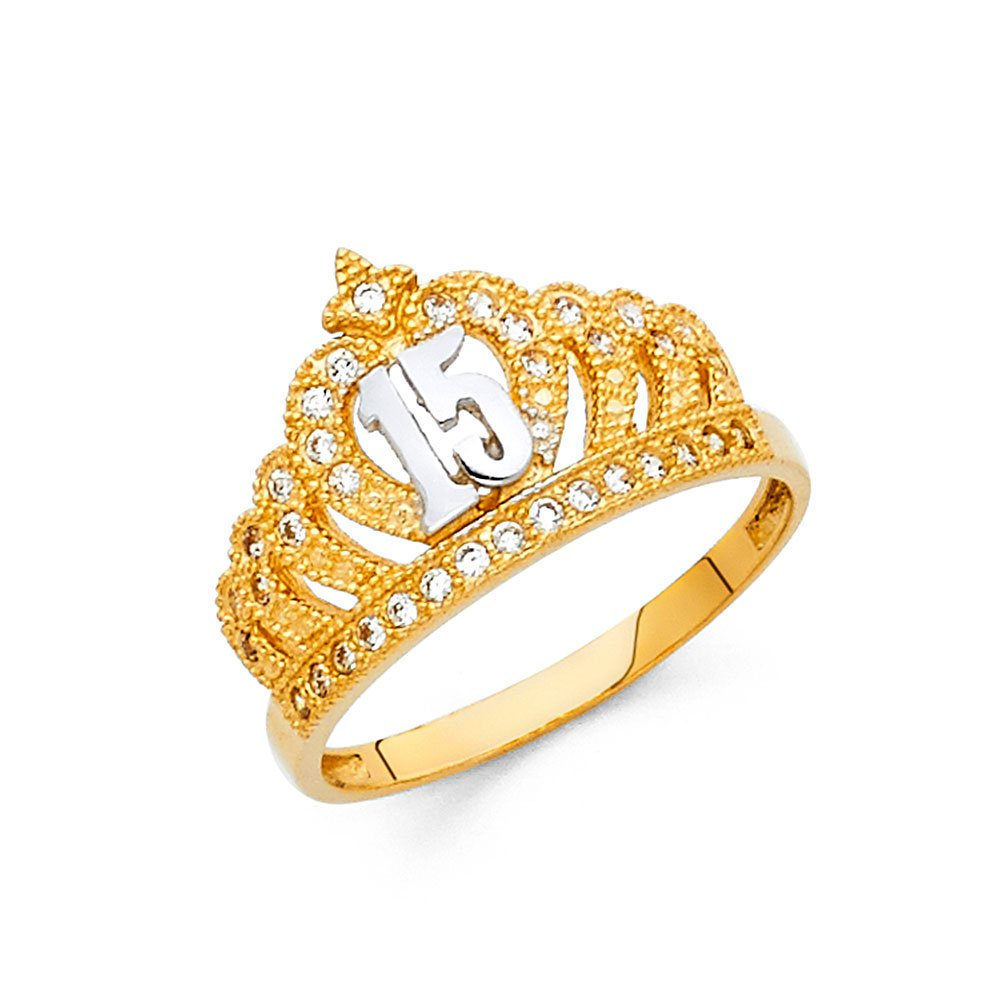 Ioka Jewelry - 14K Two Tone Solid Gold Cubic Zirconia CZ 15 Years Quinceanera Birthday Princess Ring - size 7.5