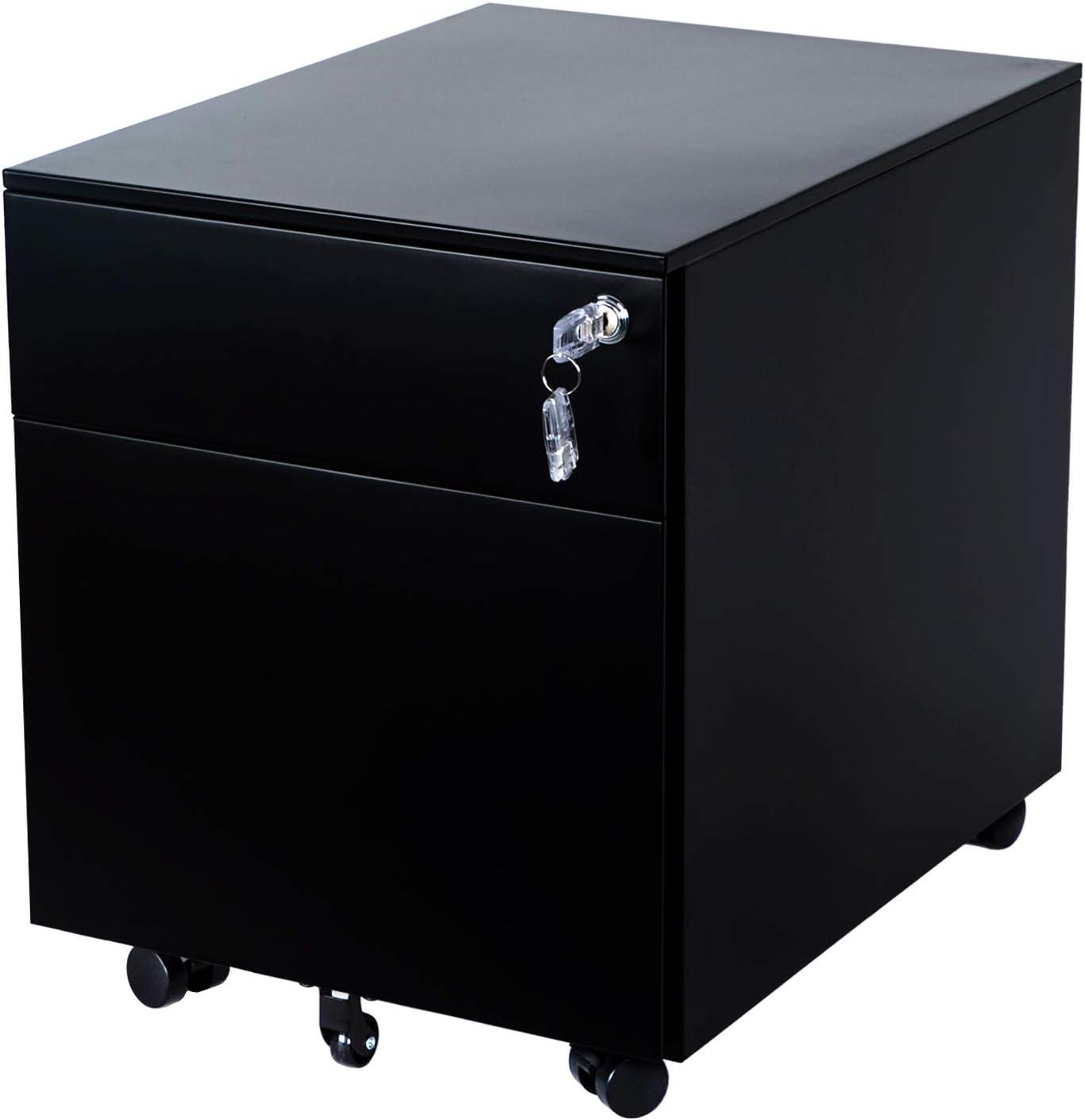 AIMEZO 2-Drawer Mobile File Cabinet Under Desk Storage for Home Office, Fully Assembled Black