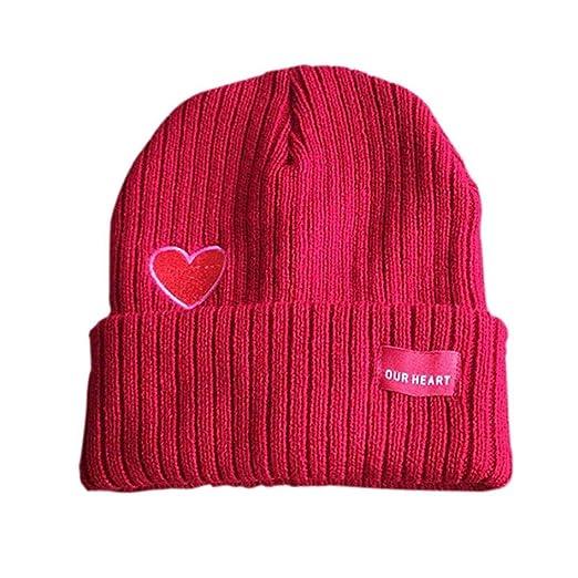 18bb6162 Staron Women Beanie Winter Hat Soft Warm Knit Applique Crochet Ski Hat  Braided Cap (Red