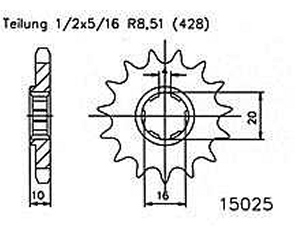 f/ür Hyosung XRX 125 1999-2003 Ritzel 15 Z/ähne Stahl 428er Teilung 1//2x5//16