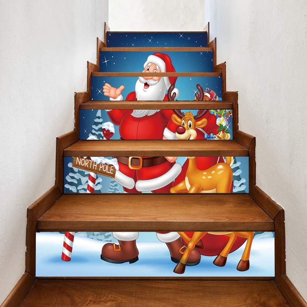 LbojailiAi Etiqueta Autoadhesiva Decorativa De Navidad Dibujos Animados Santa Claus Elk Escalera Escalera Pegatina rojoNone: Amazon.es: Hogar