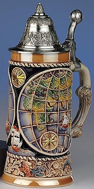 KING Jarra de Cerveza Alemana Globo terr/áqueo Tapa Puntiaguda con Apoyo para el Pulgar en Forma del Globo terr/áqueo 0,5 litros KI 338-Z 0,5L los Cuatro Elementos como Base