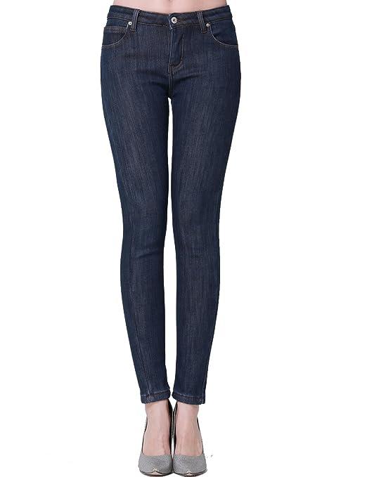 Camii Mia Damen Jeanshose Skinny Low Rise Jeans Fleece Gefürttert Denim Hose Slim Fit Trousers