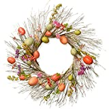 Easter Egg Wreath Assorted Color Flowers Berry Clusters Woven Base Holiday Decor