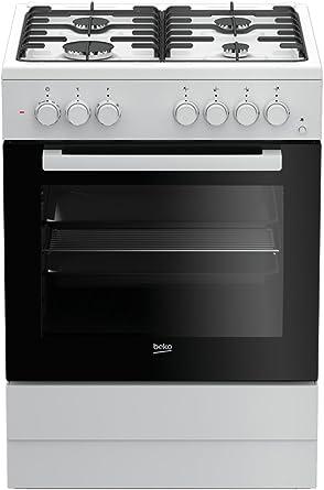 Cocina - Beko FSE62110DW, Gas, 4 zonas de cocción, Horno multifunción, 65 L, Grill, Blanco y negro: 226.73: Amazon.es: Grandes electrodomésticos