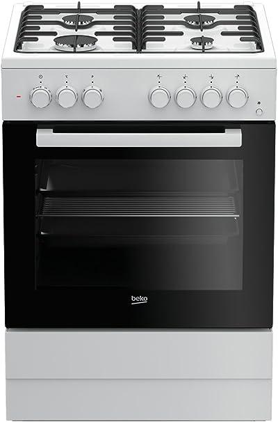 Cocina - Beko FSE62110DW, Gas, 4 zonas de cocción, Horno multifunción, 65 L, Grill, Blanco y negro: 226.12: Amazon.es: Grandes electrodomésticos