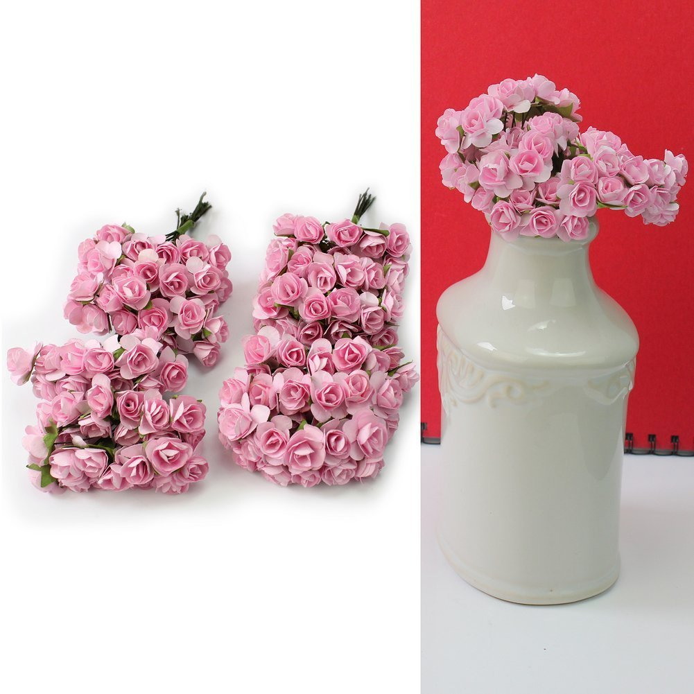 Pink SeaISee 144pc Beautiful Artificial Paper Rose Flower Wedding Card Embellishment