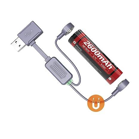 Weltool BC3 Magnético USB Cargador de Pilas, Batería Recargables Li-Ion/IMR/ICR/INR, Compatible con 14500, 16340 (RCR123), 16650, 18350, 18500, 18650, ...