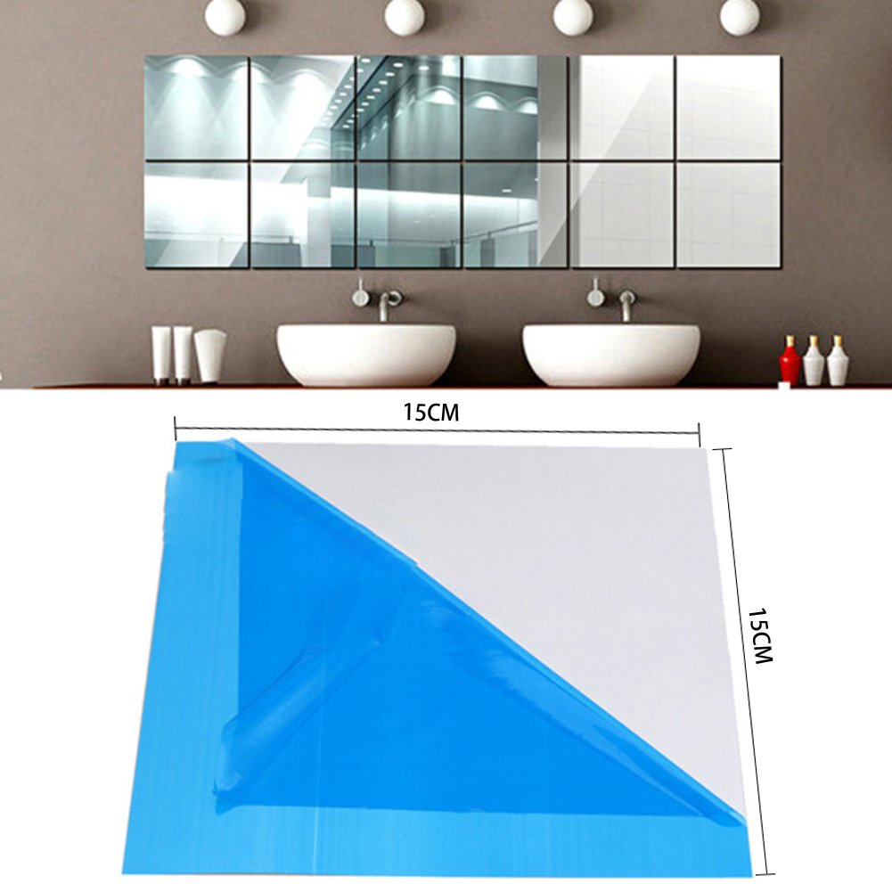16 Stück Wandspiegel Spiegelfliesen,15X15cm Spiegelkachel DIY ...