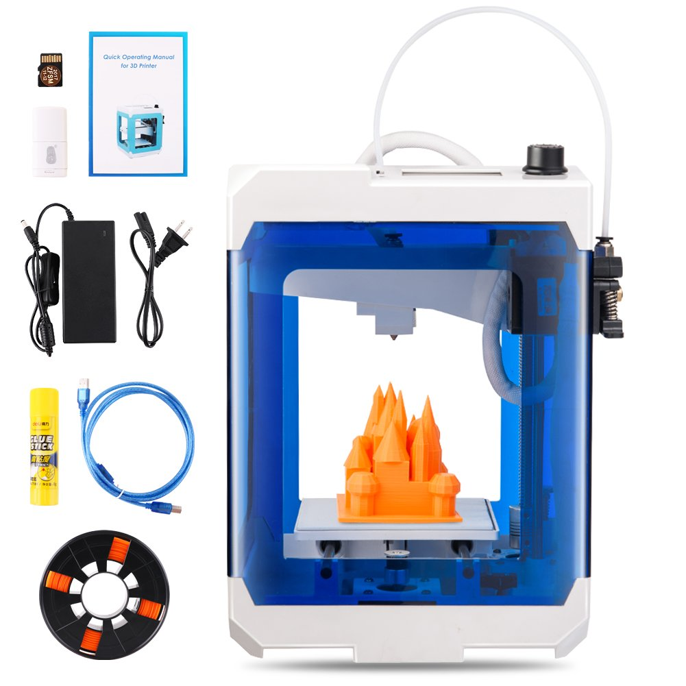 HopeWant Desktop 3D Printer Steam for Design Mini 3D Printer Kit with 250g PLA Filament TF Card High Accuracy 3D Print Education Windows/MAC/Linux ...
