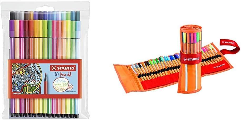 Rotulador STABILO Pen 68 Estuche con 30 colores + r punta fina STABILO point 88 Estuche premium de tela Rollerset con 30 colores: Amazon.es: Oficina y papelería