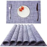 KOKAKO Placemats Washable Dining Table Place Mats PVC Kitchen Table Mats,Set of 6(Light Gray)