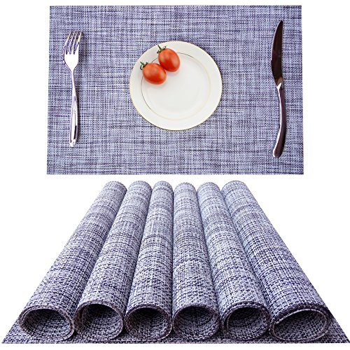 KOKAKO Placemats, Heat-resistant Dining Table Placemats Stain Resistant Anti-skid Washable PVC Kitchen Table Mats Woven Vinyl Placemats,Set of 6(Light Gray)