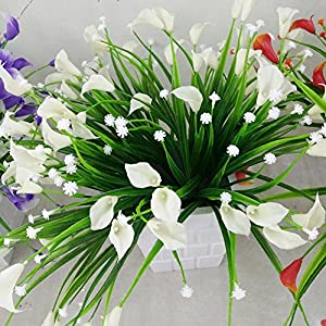FYYDNZA 1 Bunch 7 Forks 21 Heads Artificial Calla With Leaf Bouquet Plastic Fake Lily Aquatic Plants Home Room Decoration Flower 60