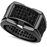 The Bling Factory Black Plated Micro-Pave Iced Out Cubic Zirconia Band Ring + Microfiber Jewelry Polishing Cloth