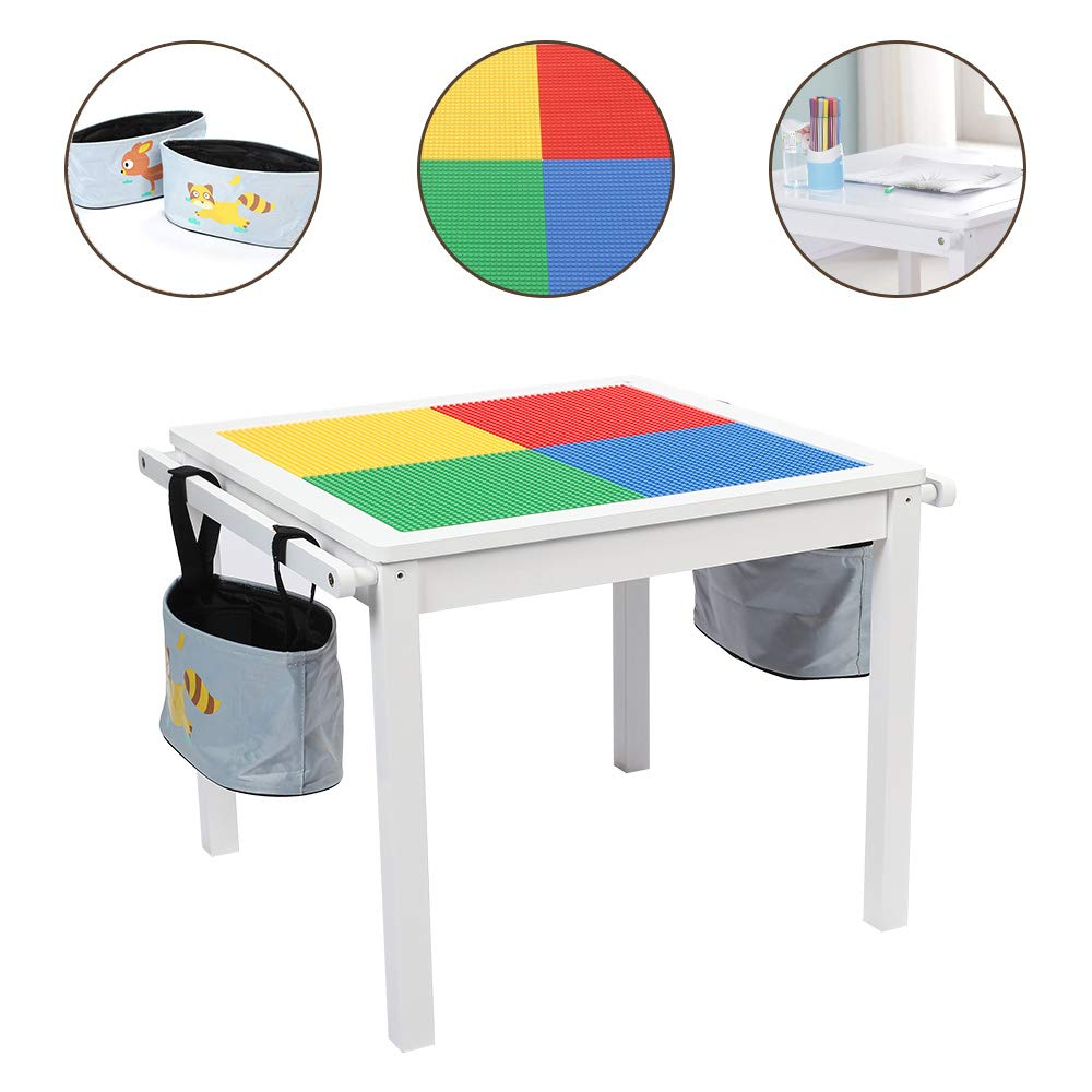 YouHi 2 in 1 Kids Activity Table with Board, Child Solid Wooden Play Table with Two Bags (White)