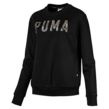 Puma Athletic Crew Sudadera, Mujer, Negro (Cotton Black) / Gris (Metalic Ash), L: Amazon.es: Deportes y aire libre