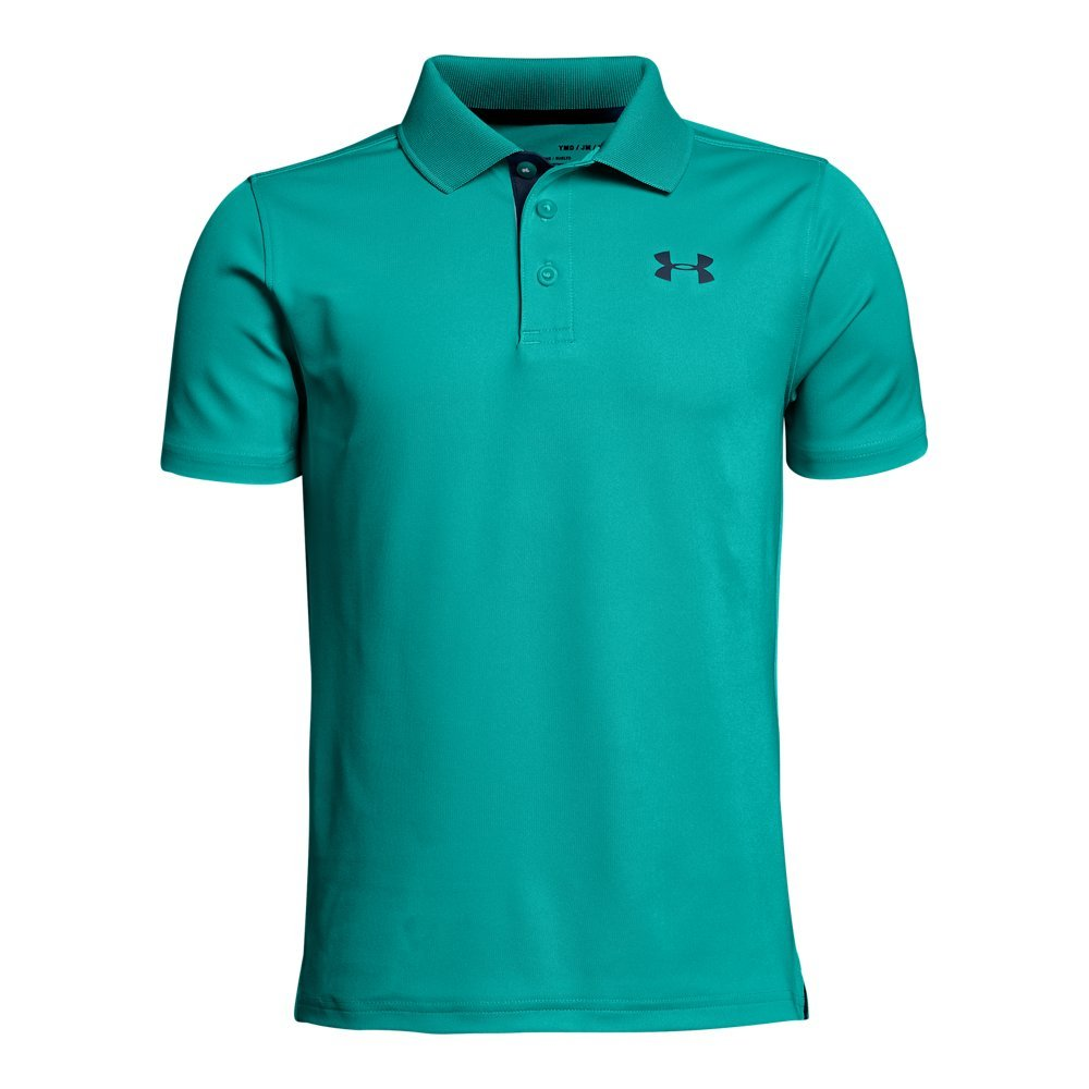 Under Armour Boys' Performance Polo, Teal Punch (594)/Academy, Youth X-Small