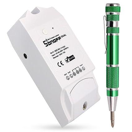 Sonoff Dual Smart Hogar 2 Vías Wifi Smart Switch, Interruptor Temporizador de Control Remoto Inalámbrico