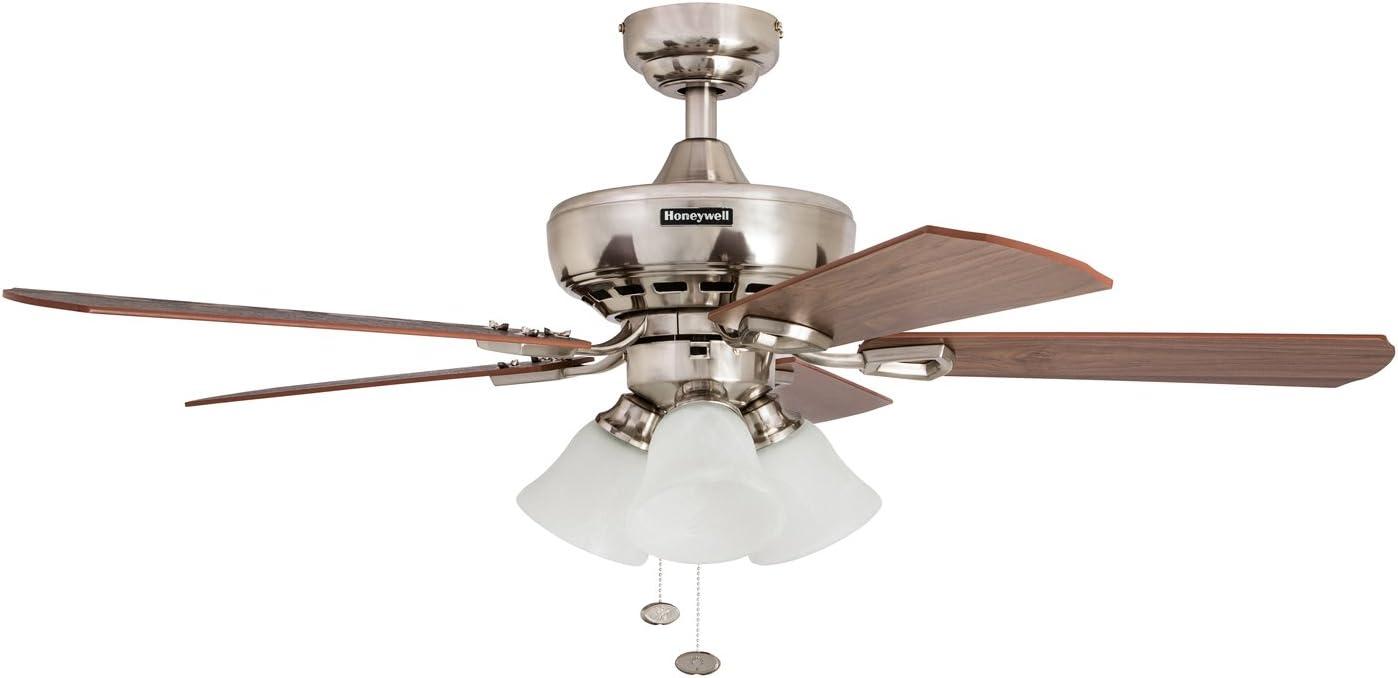 Brushed Nickel Honeywell Ceiling Fans Honeywell Springhill 50184 Sloped Ceiling Fan