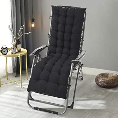 """DN_HOM Awesome Deck Chair Cushion Lounge Tufted Chaise Padding Outdoor Indoor Recliner 49"""" x 19"""" (Black) : Garden & Outdoor"""
