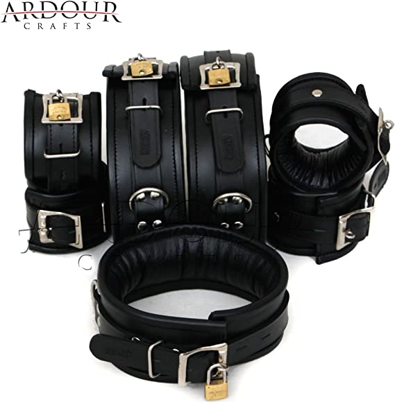 Natural Cow Hide Leather Wrist Ankle Thigh Cuffs Neck Collar 7 Set Restraint