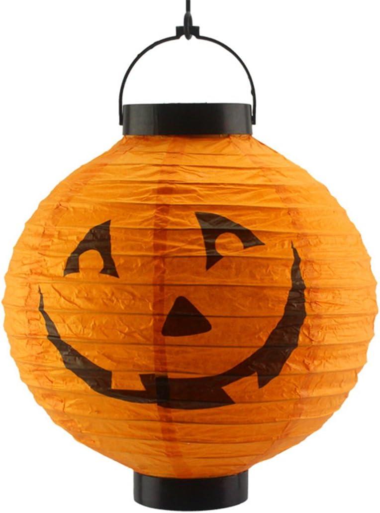 Jiacheng29 Linterna de Halloween para fiesta con luz plegable de calabaza esqueleto araña decoración